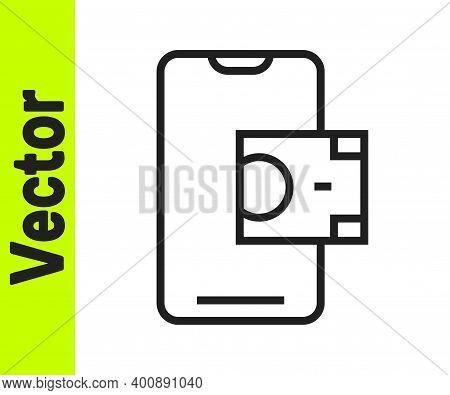 Black Line Mobile Banking Icon Isolated On White Background. Transfer Money Through Mobile Banking O