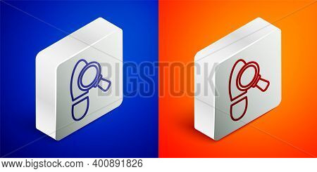 Isometric Line Magnifying Glass With Footsteps Icon Isolated On Blue And Orange Background. Detectiv