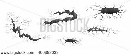 Set Of Ground Or Walls Crack Effect, Earth Cracking. Monochrome Isolated Vector Illustration.black H