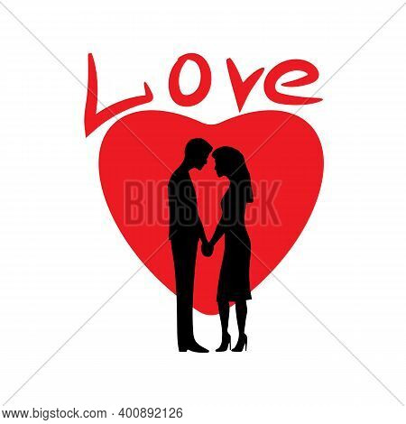 Silhouette Of Lovers On The Background Of The Heart. Romantic Digital Paint,lovers On Valentine's Da