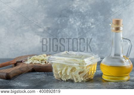 Dairy Products Assortment On Wooden Table Chees And Oil