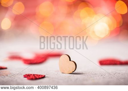 Valentines Day Background. Wooden Heart On The Red Background. Valentines Day Postcard. Love Concept