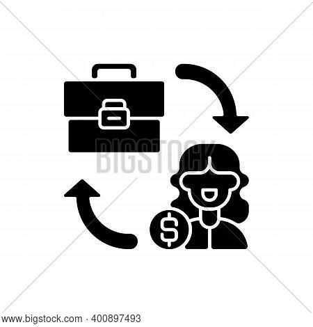 B2c Marketing Black Glyph Icon. Selling Different Products Directly To Customers, Bypassing Any Thir