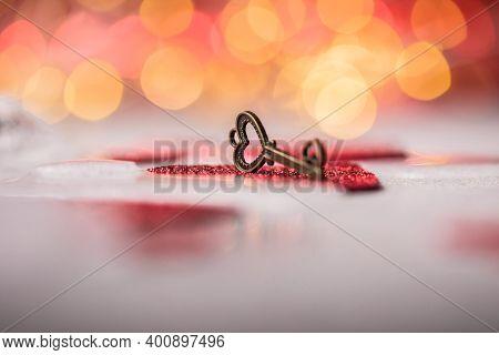 Key Of My Heart, Love Valentine Concept.  Key Of My Heart Concept. Love Valentine Concept, Flat Lay