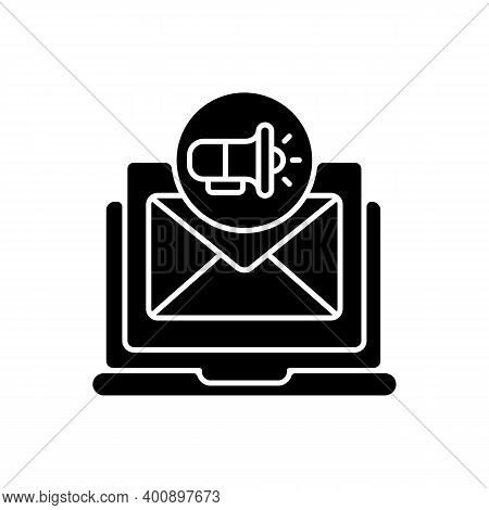 Direct Marketing Black Glyph Icon. Organizations Communicate Directly To Selected Customer And Suppl