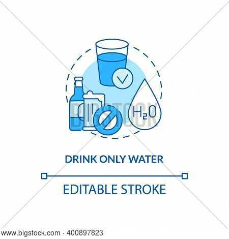 Drinking Only Water Concept Icon. Blood Test Tip Idea Thin Line Illustration. Dietary Option. Fastin