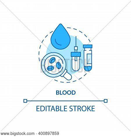 Blood Concept Icon. Lab Sample Idea Thin Line Illustration. Finger Prick. Laboratory Sample Tubes. V