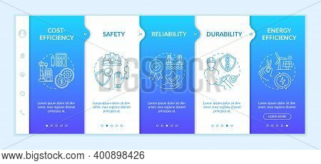 Safety Engineering Onboarding Vector Template. Cost And Energy Efficiency. Reliability, Durability.