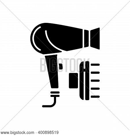 Hair Dryer Black Glyph Icon. Drying And Styling Hair. Hand-held Electric Blower. Preventing Frizz. H