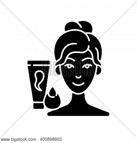 Makeup Sponge Black Glyph Icon. Foundation, Concealer, Beauty Balms Applying. Teardrop-shaped Sponge