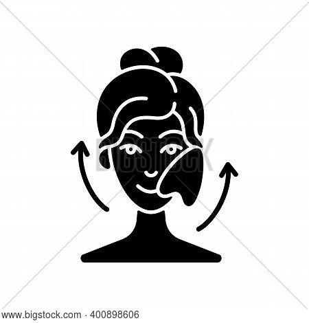 Gua Sha Stone Black Glyph Icon. Removing Puffiness Under Eyes. Angled Stone. Scraping Skin On Face.