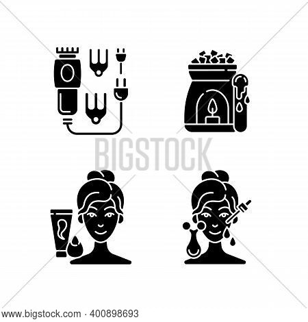 Beauty Care Appliances Black Glyph Icons Set On White Space. Electric Hair Clippers. Wax Warmer. Mak