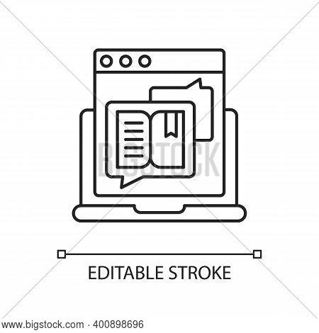 Storytelling Linear Icon. Social Media Content. Online Visual Presentation. Internet Publication. Th