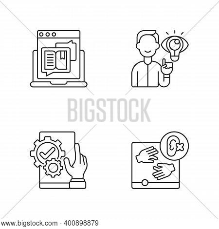 User Experience Management Linear Icons Set. Storytelling For Online Blog. Website Accessibility. Cu