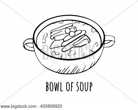 Vector Illustration With Soup Tarilka. Sketch Hand Drawn Picture On A White Background With A Signat