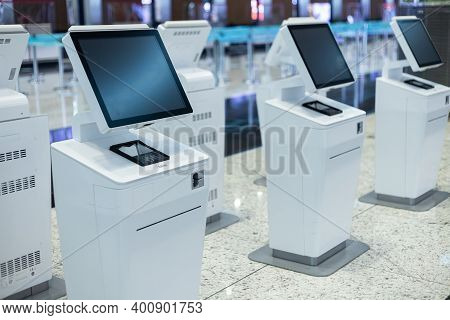 Istanbul, Turkey, December 2020. New Self Check-in Machines At Ataturk Airport.
