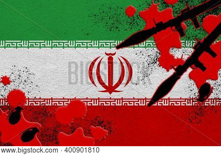 Iran Flag And Rocket Launchers With Grenades In Blood. Concept For Terror Attack And Military Operat