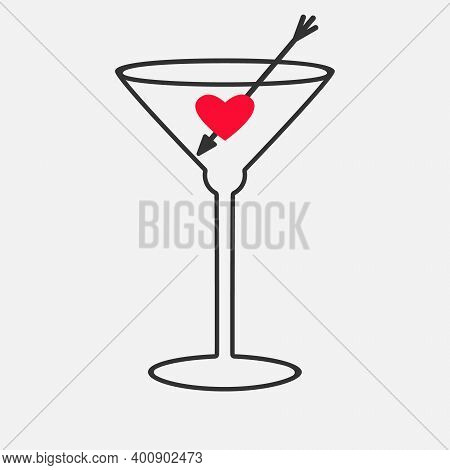 Cocktail Glass Icon, Alcoholic Drink, Dry Martini With Red Heart Symbol, Arrow, Outline Illustration