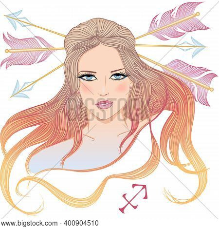 Zodiac. Vector Illustration Of The Astrological Sign Of Sagittarius As A Beautiful Girl With Long Ha