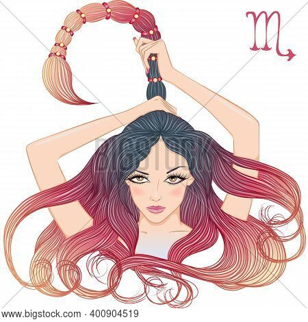 Zodiac. Vector Illustration Of The Astrological Sign Of Scorpio As A Beautiful Girl With Long Hair.