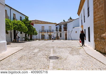 Ronda, Spain - May 22, 2017: The Medieval Mondragon Square In The Historic Centre  Of Town Of  Ronda