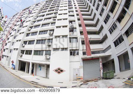 Singapore- 25 Dec, 2020: Singapore Residential Housing Estate With Apartment Blocks In Choa Chu Kang