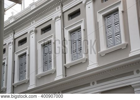 Singapore - 8 Dec, 2020: Window Of The National Museum Of Singapore. This Museum Is A Oldest Museum