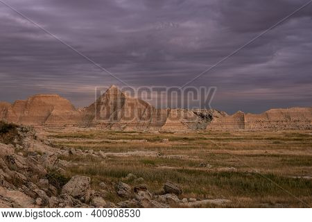 Streaky Sunrise Clouds Over Badlands Wilderness In South Dakota