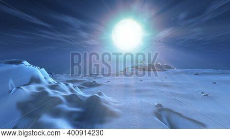 Ice Berg Night Full Moon, 3d Render Illustration