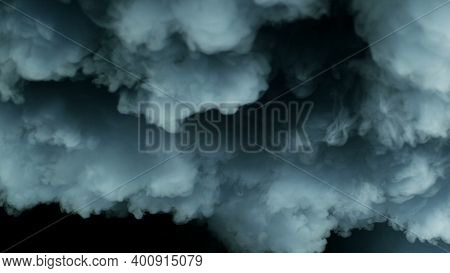 Photo Of Real Thunder Lightning In Storm Clouds, Dry Ice Smoke Texture On Black Dark Background. For