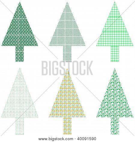 Christmas Tree Set Isolated On White