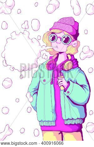 Teenager Girl Vaper Stand And Smoke Vape Mode. Vaping Woman. Alternative To Smoking. Quit Smoking. H