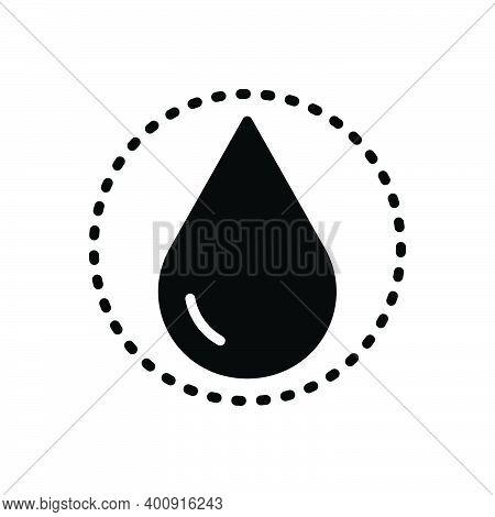 Black Solid Icon For Drop Raindrop Liquid Pure Ripple Splash Aqua Droplet Water Oil Drinkable Fresh