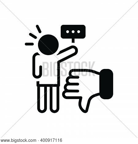 Black Solid Icon For Critic Authority Commentator Columnist Vote Reviewer Customer Review Dislike In