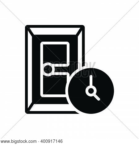 Black Solid Icon For During At-the-time Entrance Gateway Inlet Door Approach Inside Doorway Exit Ent
