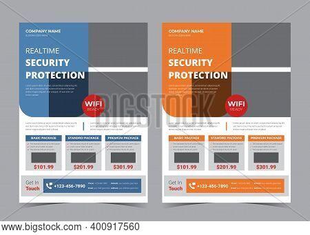 Security Camera Flyer. Cctv Promotion Flyer. Surveillance Camera Advertising Template