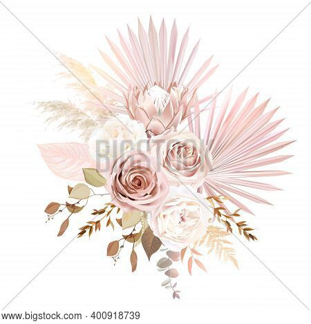 Trendy Dried Palm Leaves, Blush Pink Rose, Pale Protea, White Ranunculus, Pampas Grass Vector Design