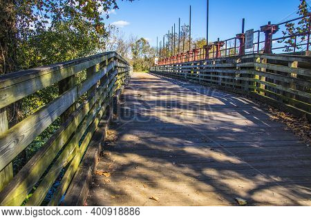A Wooden Bridge At The Augusta Canal In Augusta Ga