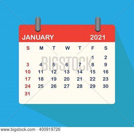 January 2021 Calendar Icon. January 2021 Sign. January 2021 Calendar Leaf.