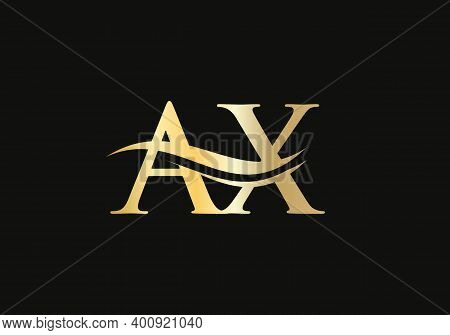 Initial Gold Letter Ax Logo Design. Ax Logo Design With Modern Trendy