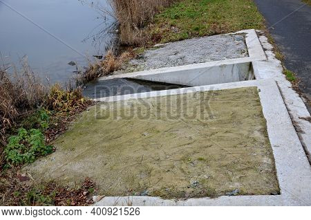 Concrete Bridge Intended For The Outflow Of Treated Water From The Wastewater Treatment Plant Direct