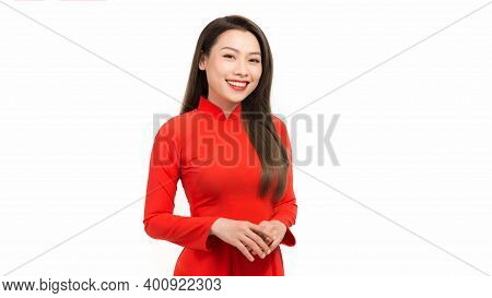 Vietnamese Girl Wear Traditional Long Dress Ao Dai Isolated On White Background