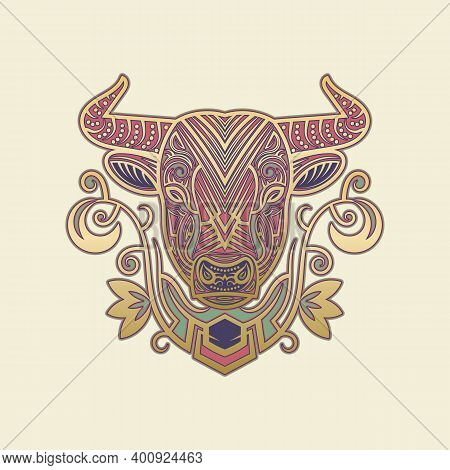 Ornamental Sacred Cow Face Mascot. Tribal Hindu Cattle Symbol With Floral Pattern. Golden Calf Totem
