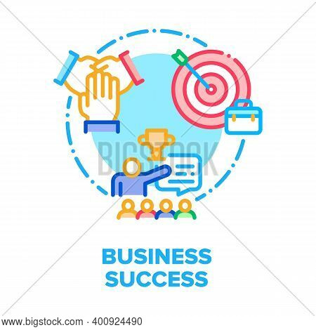 Business Success Vector Icon Concept. Businessman Winning Success Worked Task Or Team Competition, T