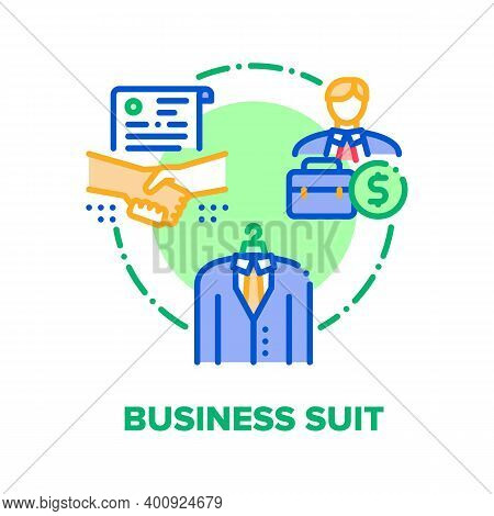 Business Suit Vector Icon Concept. Business Costume For Meeting And Signing Agreement, Businessman C