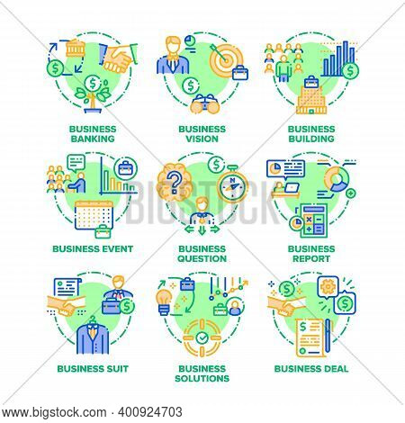 Business Goal Set Icons Vector Color Illustrations. Business Vision, Solutions And Realization, Even
