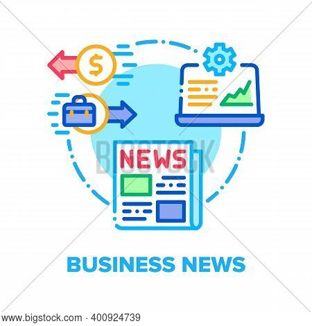 Business News Vector Icon Concept. Business Newspaper And Online Analytics Process, Economic Informa