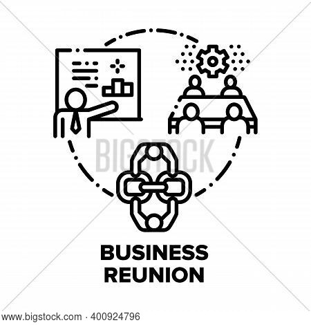 Business Reunion Vector Icon Concept. Businessperson Meeting And Presentation, Project Discussing Wi