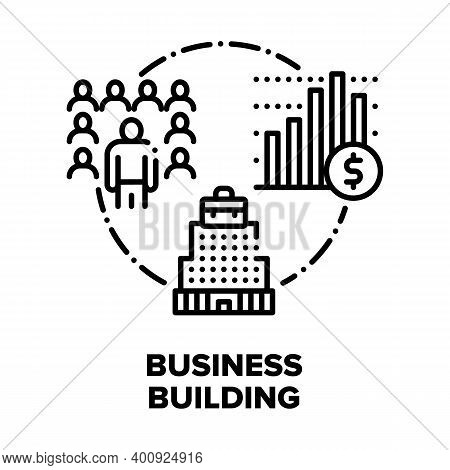 Business Building Center Vector Icon Concept. Business Skyscraper Real Estate, Corporate Commercial