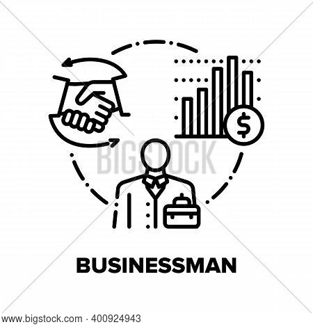 Businessman Vector Icon Concept. Businessman Partnership And Contract, Financial Report And Leadersh